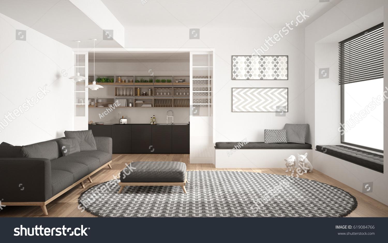 Minimalist Living Room Sofa Big Round Stock Illustration 619084766 ...