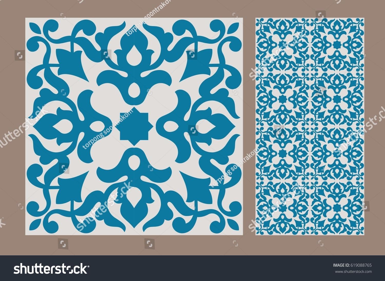 Vintage Antique Design Patterns Tiles Stock Vector 619088765 ...
