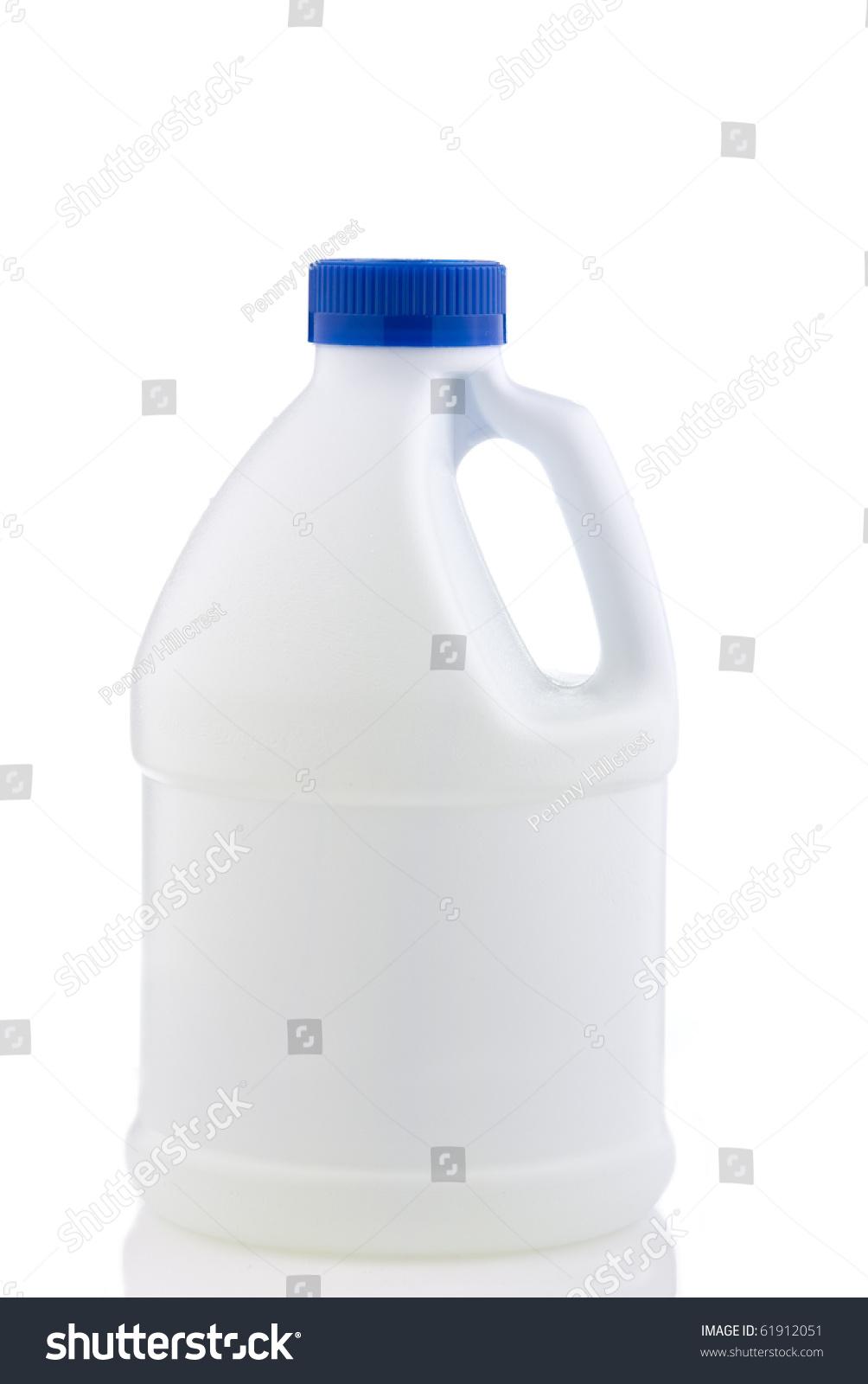 White Plastic Bottle Blue Cap Isolated Stock Photo
