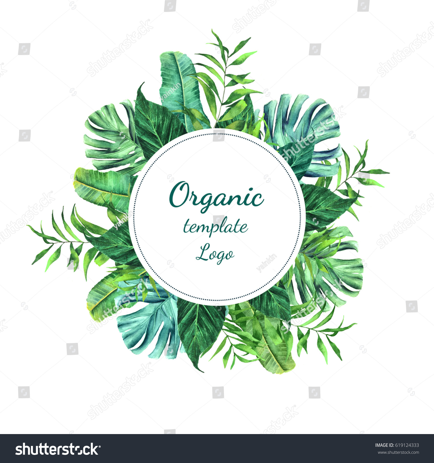 template organic tropical leaves logo watercolorのイラスト素材