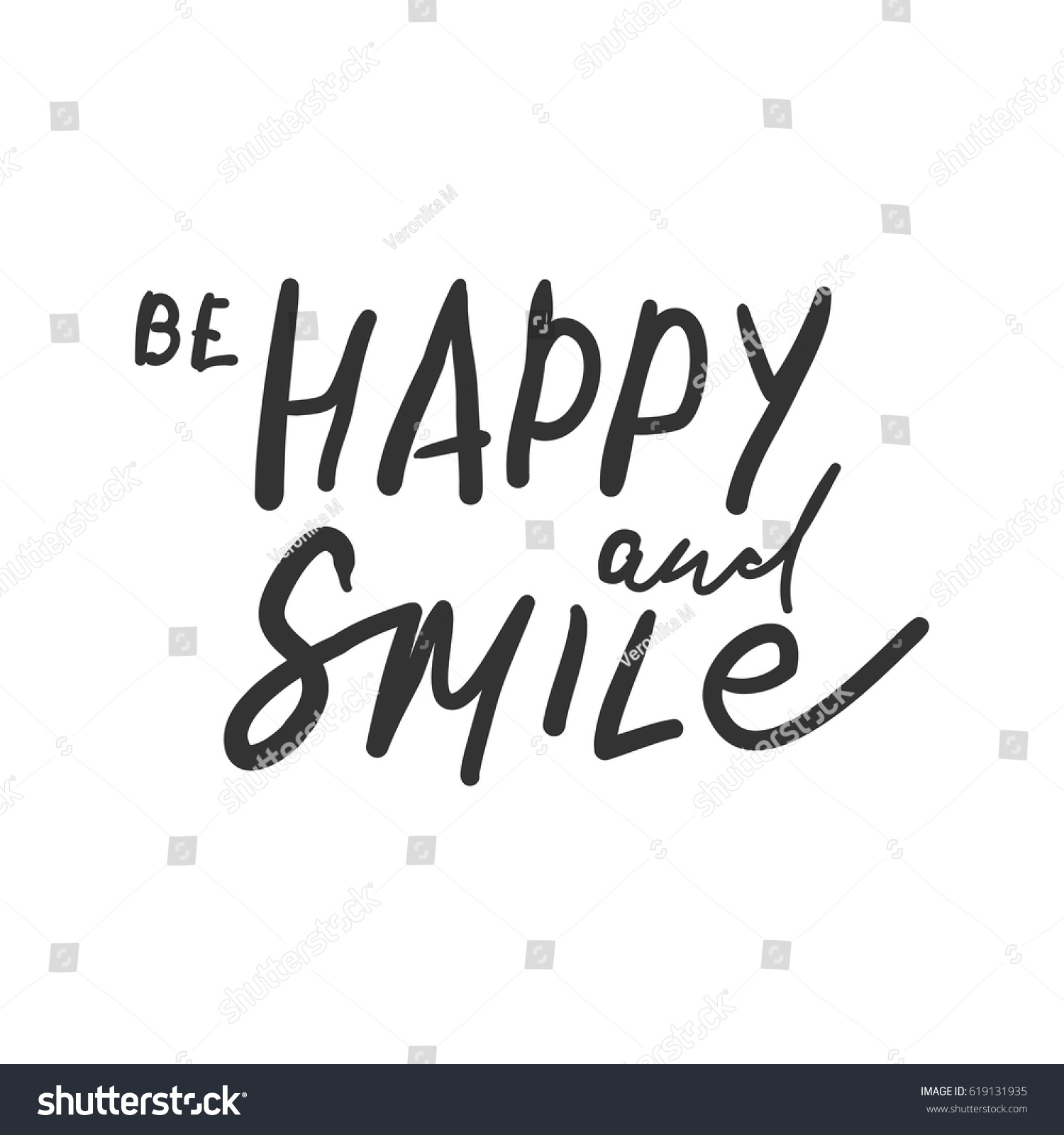 be happy and smile quotes about happiness hand lettering modern calligraphic design