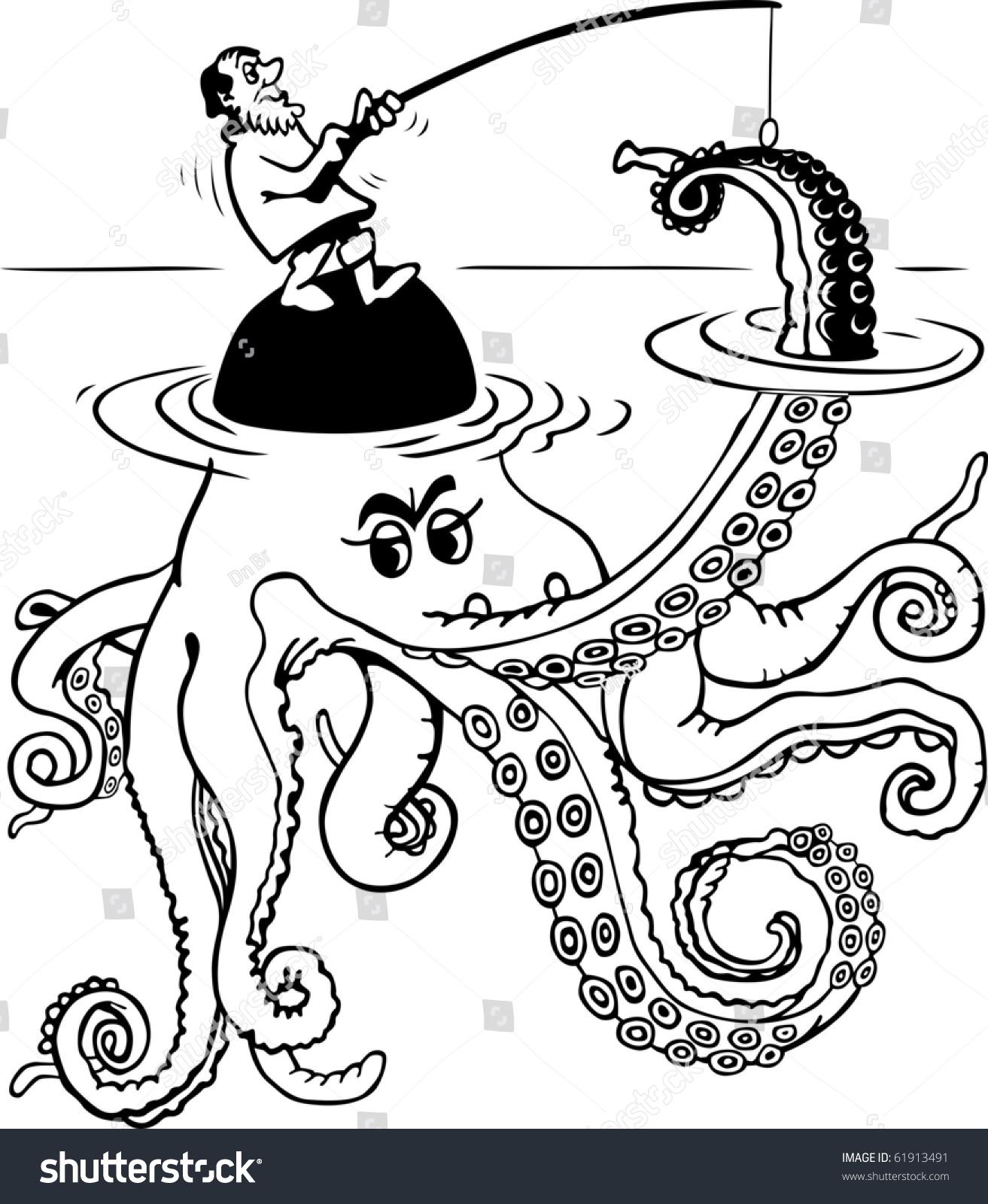 Fisherman Catch Octopus Stock Vector 61913491