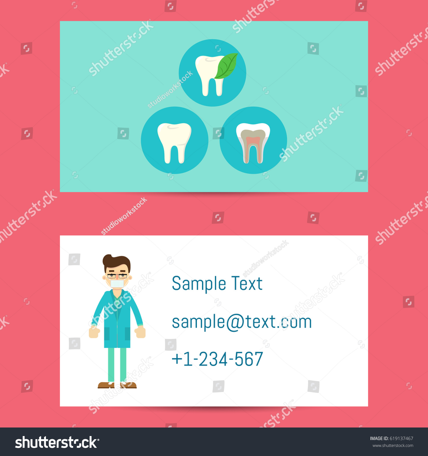Professional Business Card Template Dentists Cartoon Stock Vector ...