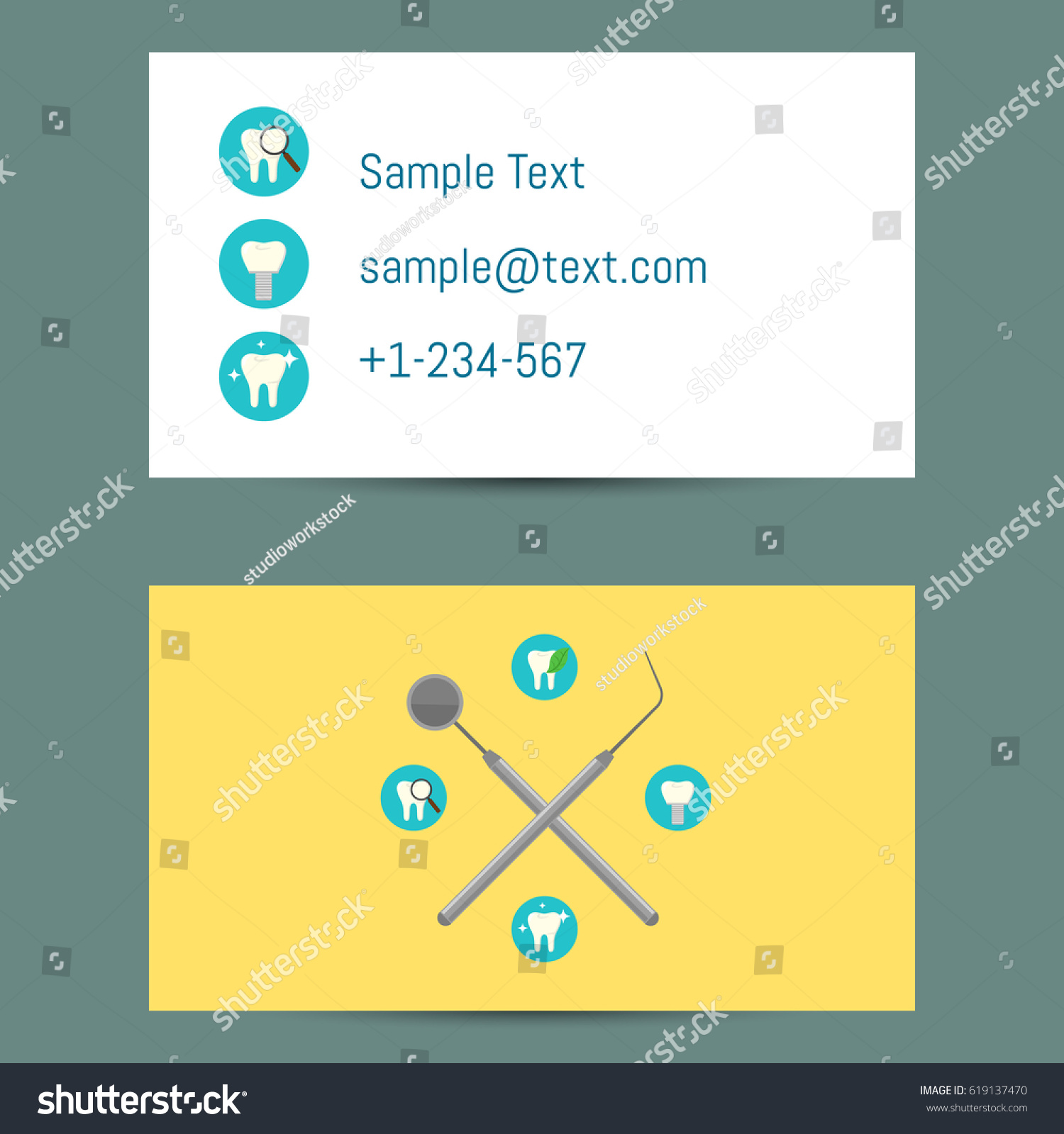 Professional white yellow business card template stock vector professional white and yellow business card template for dentists with round teeth icons and dentist equipment magicingreecefo Image collections