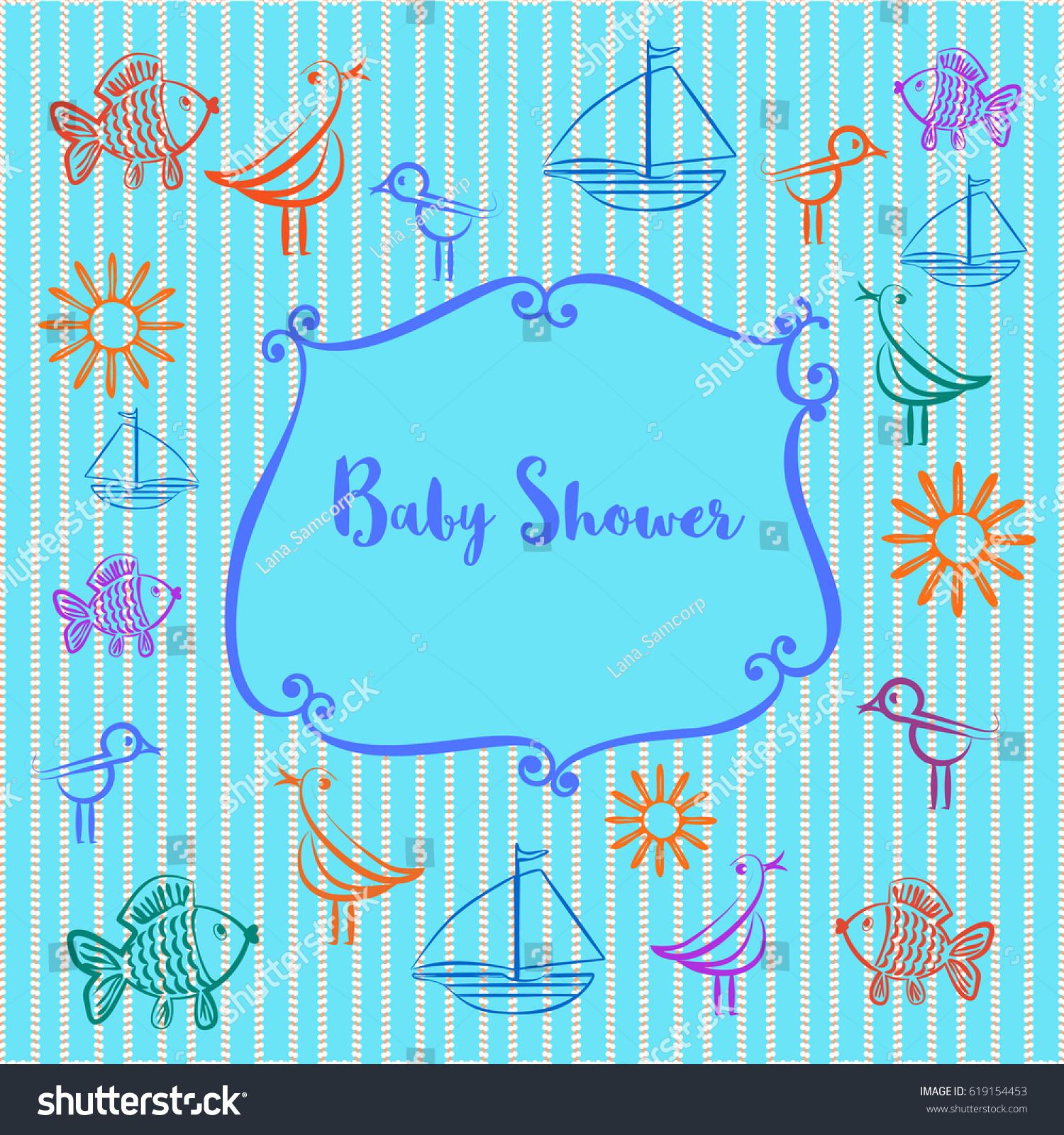 Baby Photo Album Baby Boy Shower Stock Illustration 619154453 ...