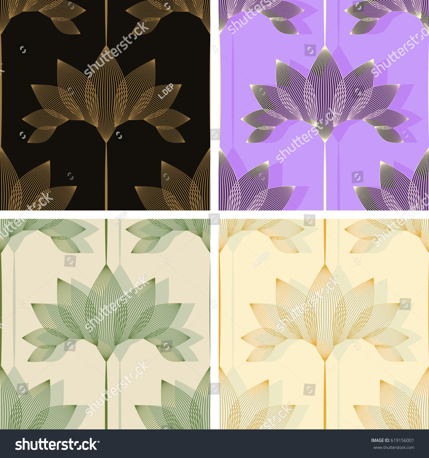 Vintage Style Floral Wallpaper Set Lotus Stock Vector Royalty