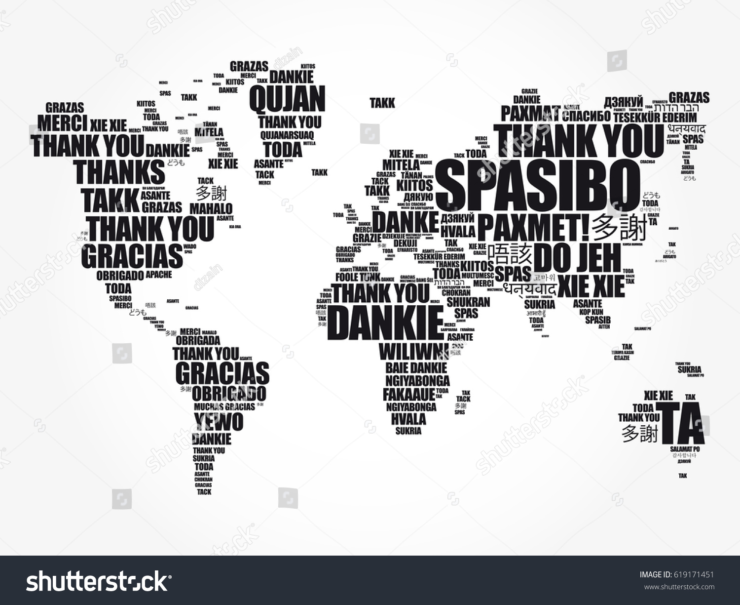 Thank you many languages world map stock vector 619171451 thank you in many languages world map in typography word cloud multilingual for education or gumiabroncs Choice Image