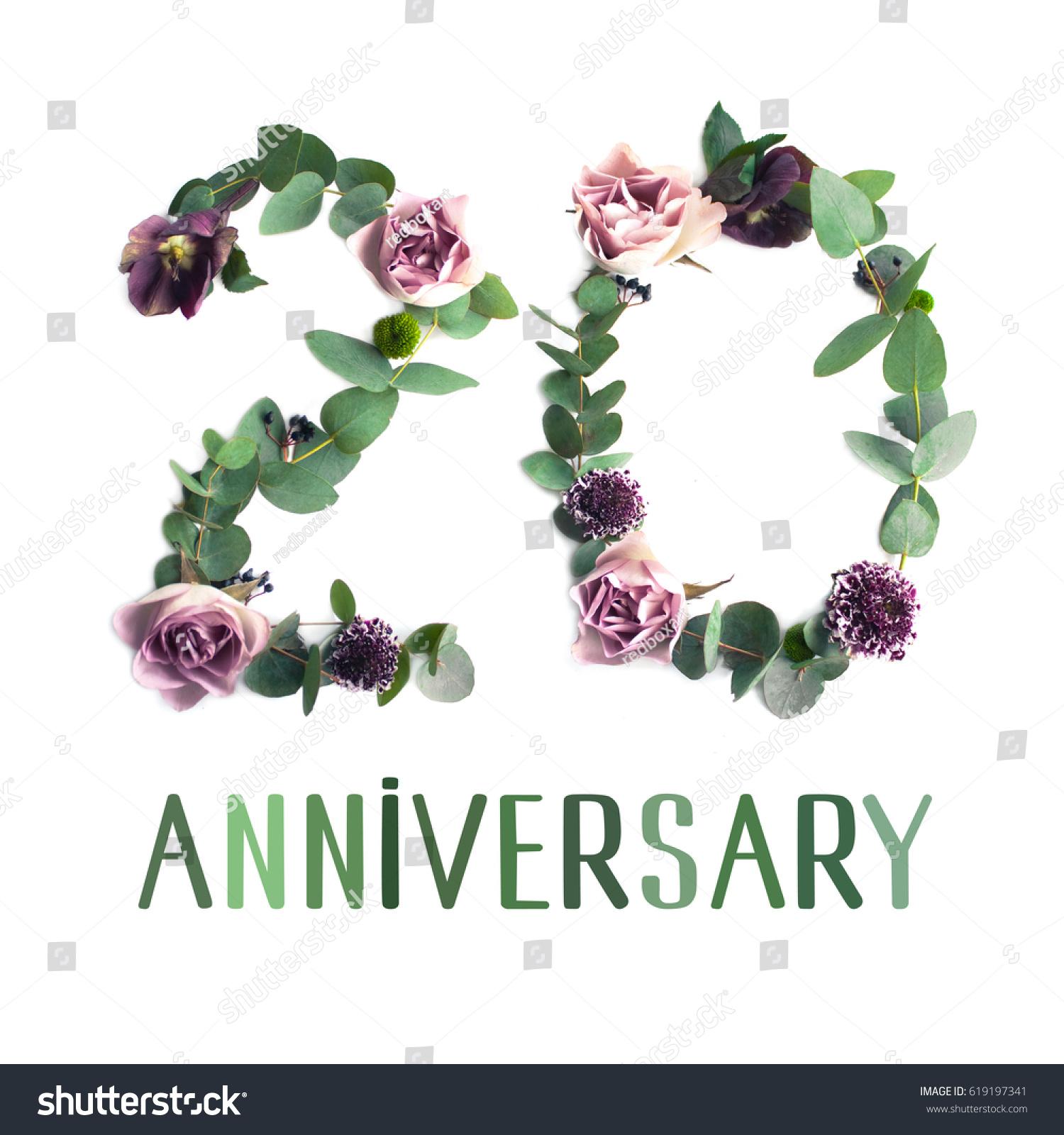 Flowers Number Card Anniversary Invitation Creative Stock Photo ...