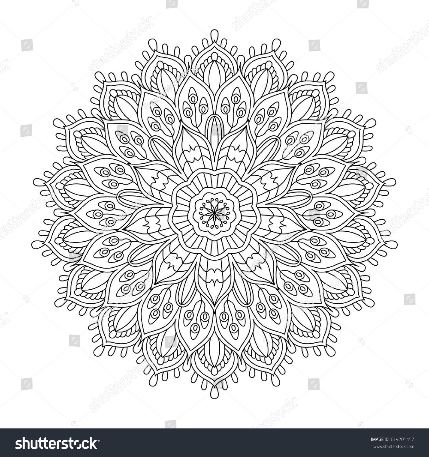 Vector Illustration Oriental Flower Outline Mandala Vector De Stock