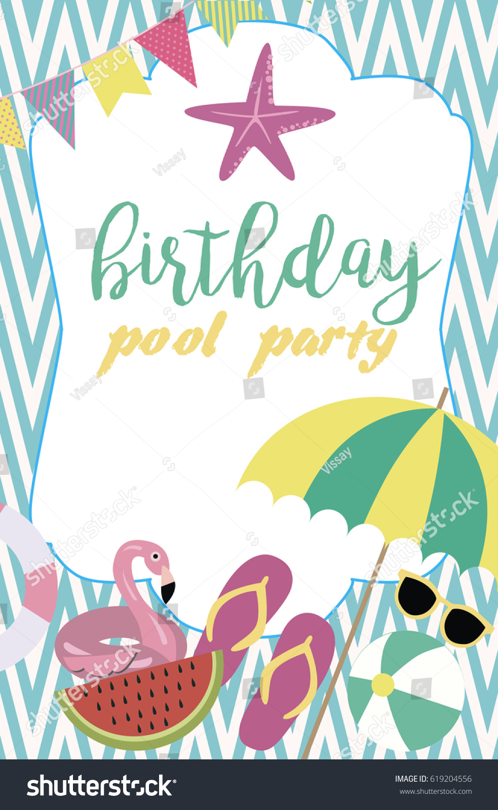 Pool Party Invitation Template Card Summer Stock Vector 619204556 ...
