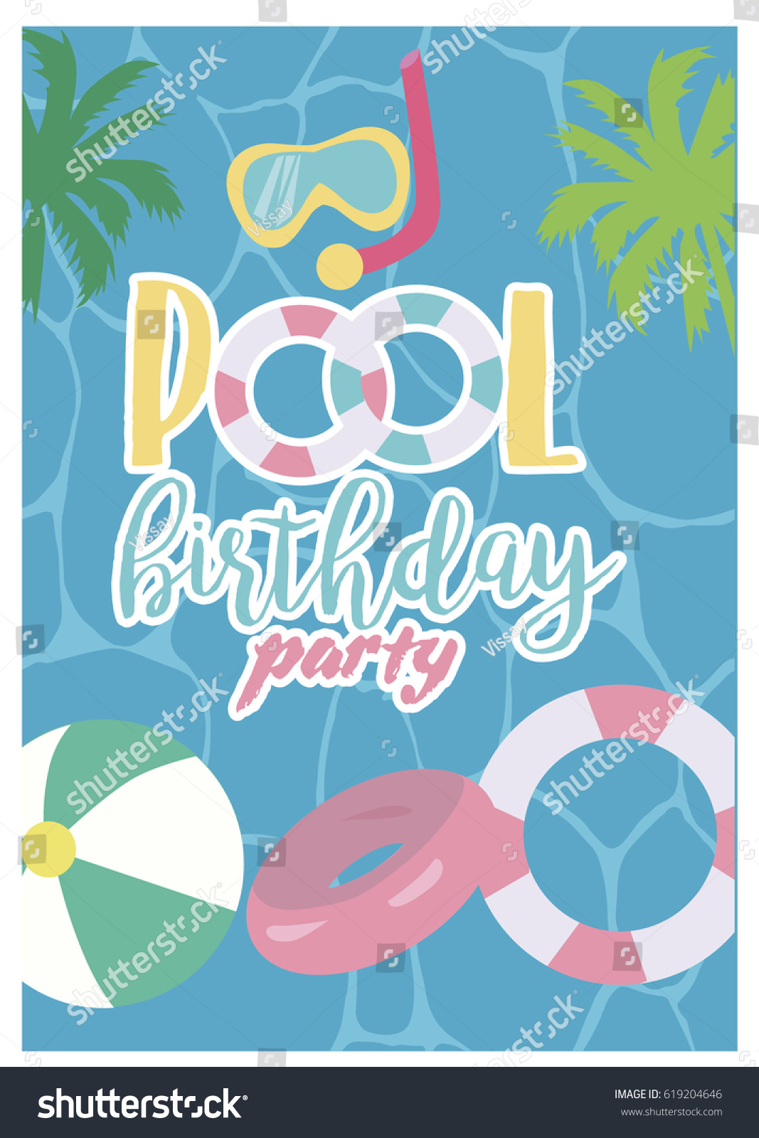 Pool Party Invitation Template Card Summer Stock Vector 619204646 ...