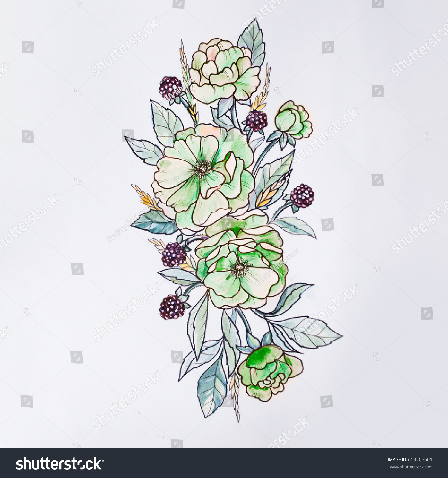 Sketch of beautiful flowers on a white background ez canvas izmirmasajfo