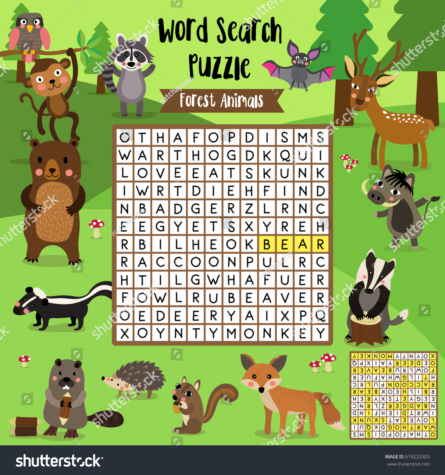 words search puzzle game forest animals stock vector 619223303
