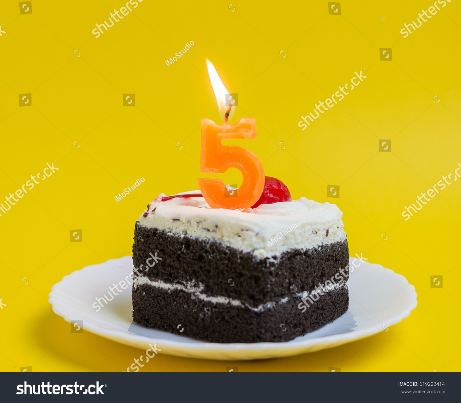Anniversary Cake Number 5 Lighted Candles Stock Photo Royalty Free