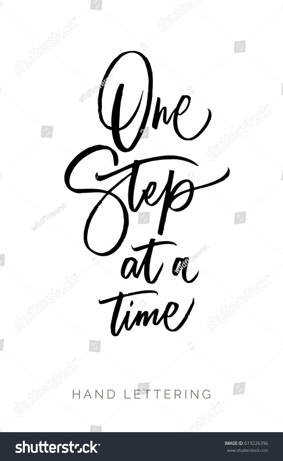 One Step Time Hand Drawn Quote Stock Vector Royalty Free 619226396