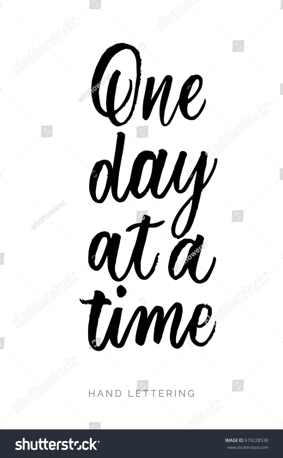 One Day Time Hand Drawn Quote Stock Vector Royalty Free 619228538