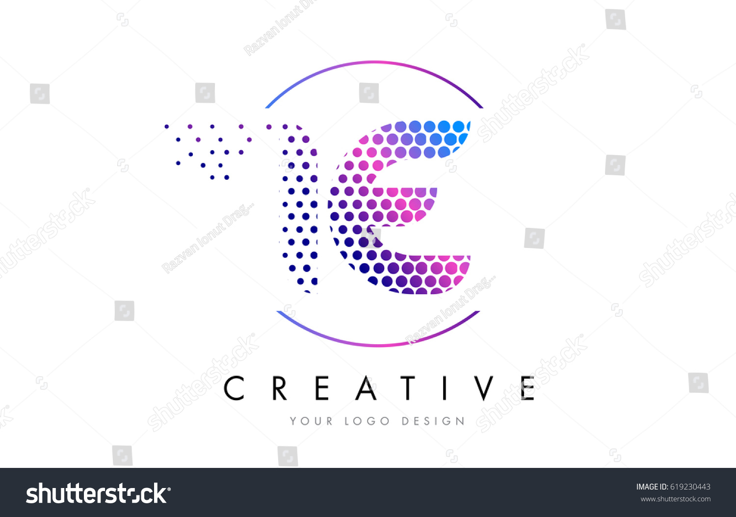 E Pink Magenta Dotted Bubble Letter Stock Vector Hd Royalty Free