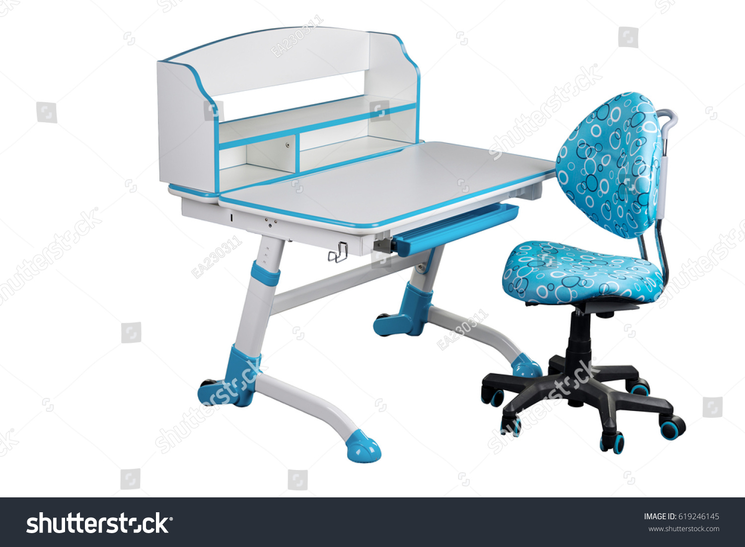 Blue School Chair. Blue School Desk And Chair Stand On White ...