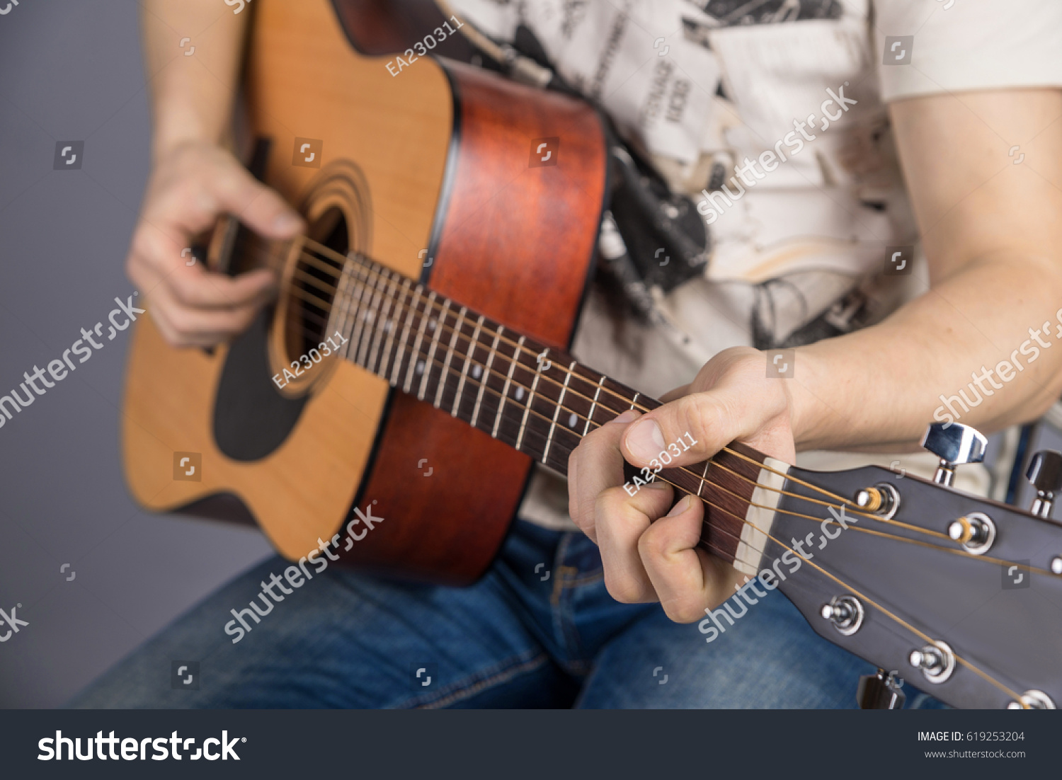 Picture Acoustic Guitar Classical Color Hands Stock Photo Edit Now