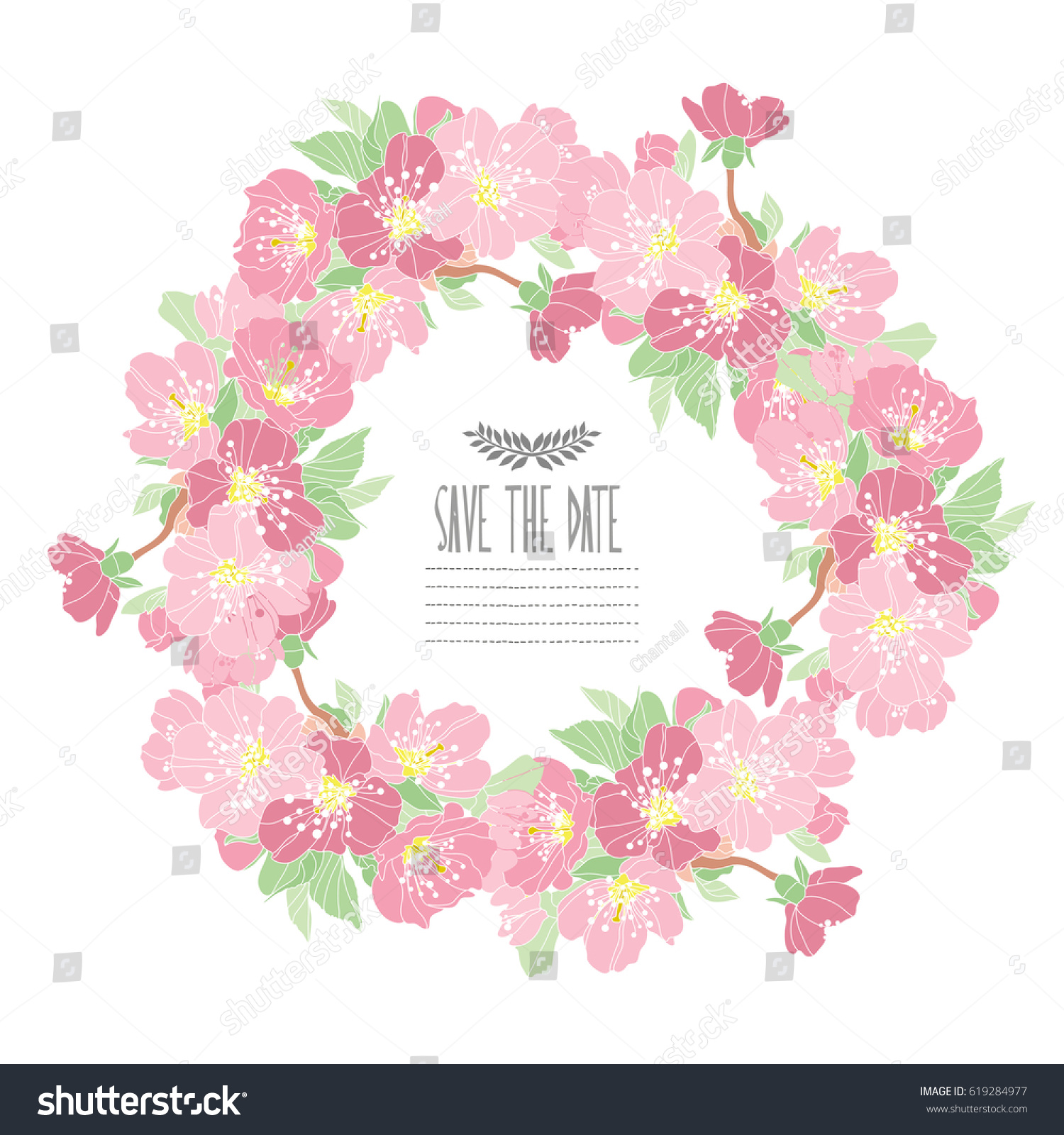 Elegant Wreath Decorative Cherry Blossom Flowers Stock Vector HD ...