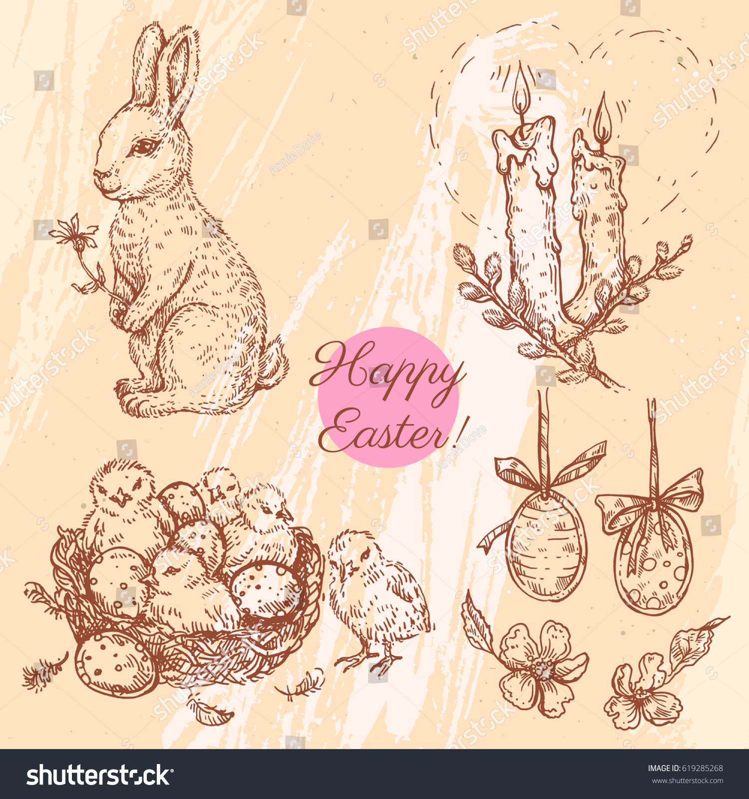 Vector Set With Linear Sketches. Easter Bunny With Flower, Candles, Easter  Eggs,