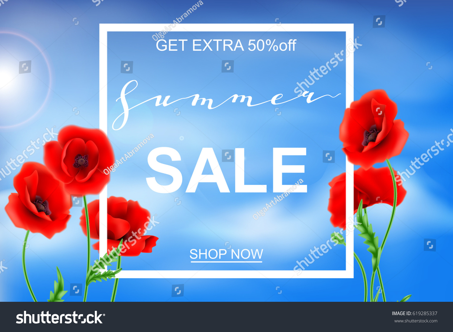 Advertisement about summer sale on background stock vector 619285337 advertisement about the summer sale on background with beautiful poppy flowers lettering calligraphy mightylinksfo