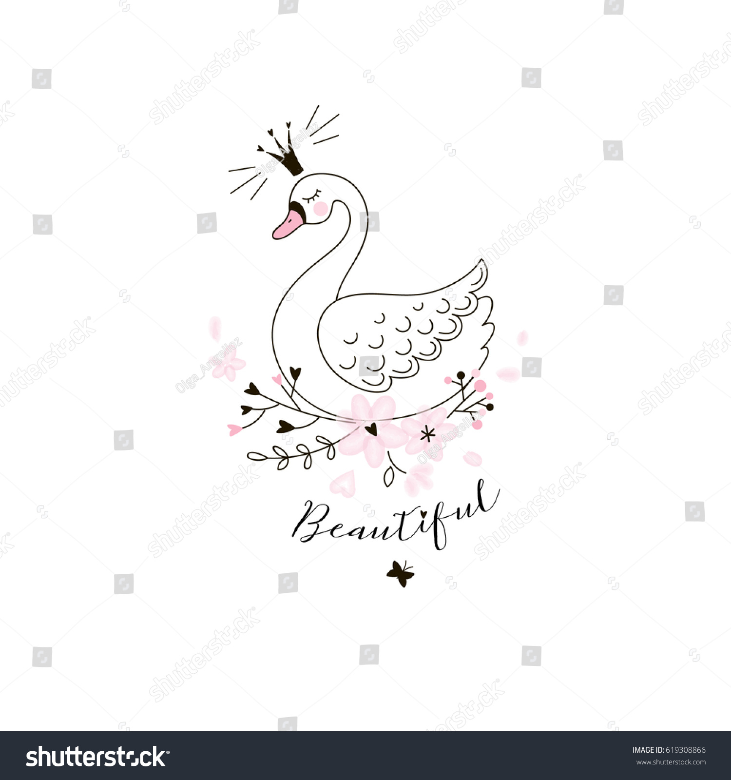 beautiful swan princess doodle illustration stock vector 619308866