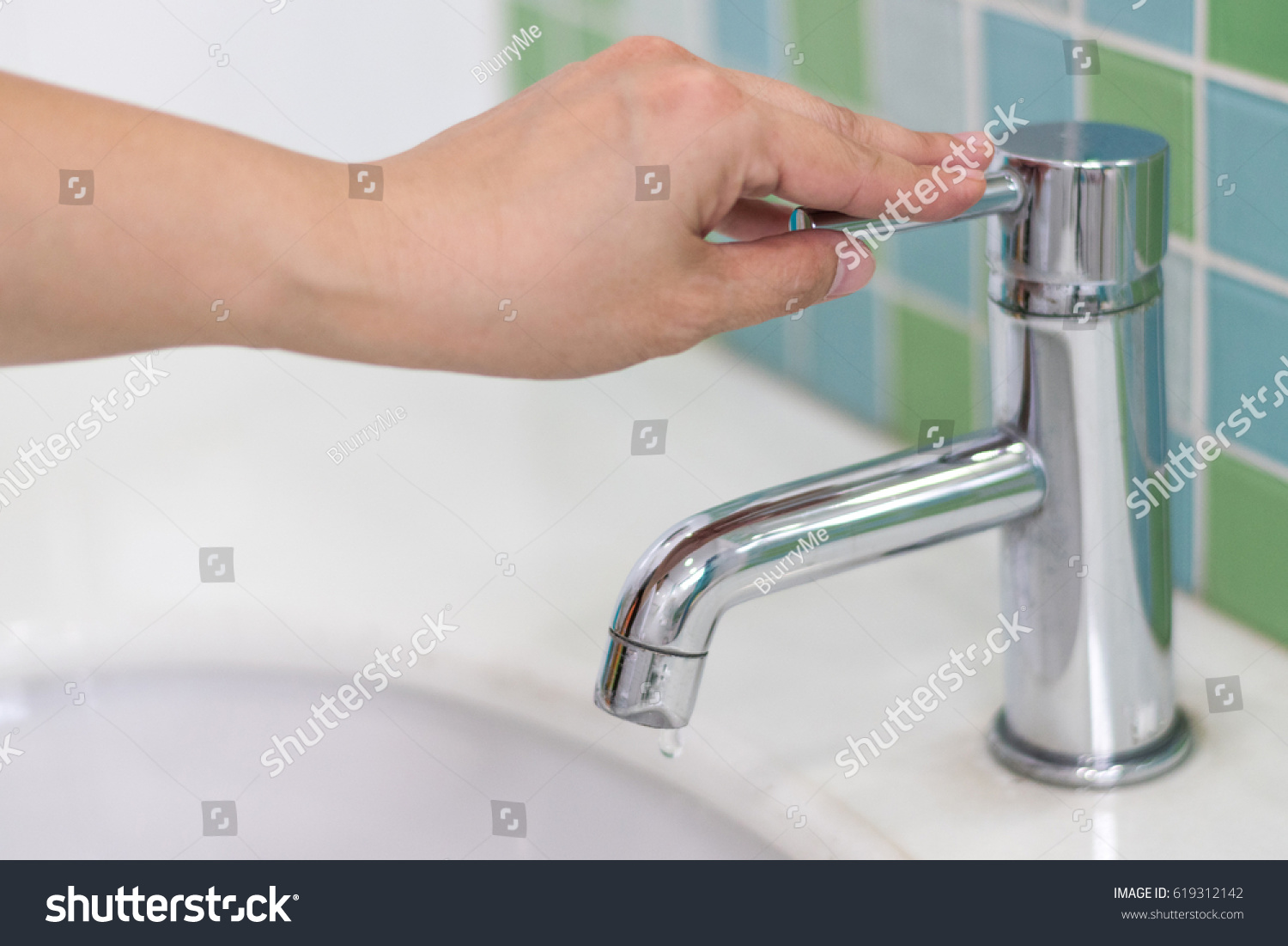 Image Hand Closing Valve On Sink Stock Photo (Royalty Free ...