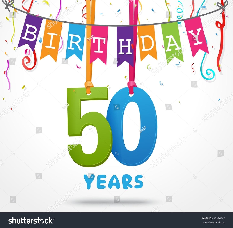 50 Years Birthday Celebration Greeting Card Design