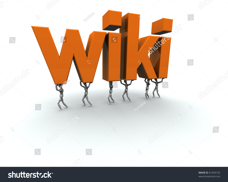 3d Mannequins Carrying Word Wiki Orange Stock Illustration ...