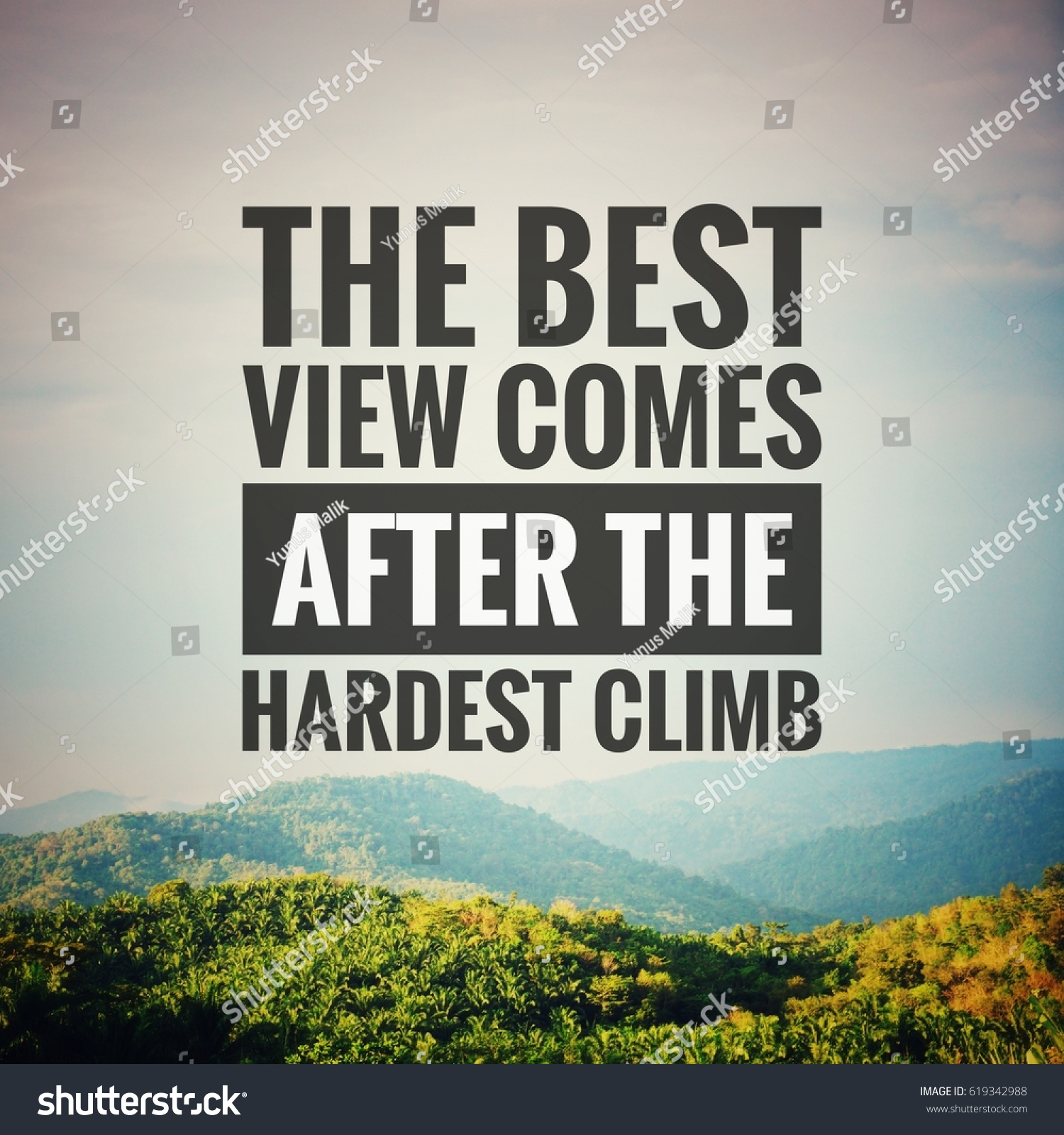 View Quotes Inspirational Motivation Quote Best View Comes Stock Photo