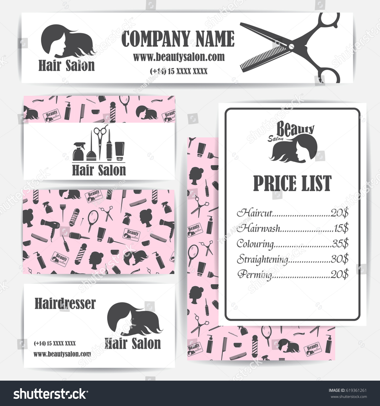 Beauty Salon Barbershop Vintage Business Cards Stock Vector ...