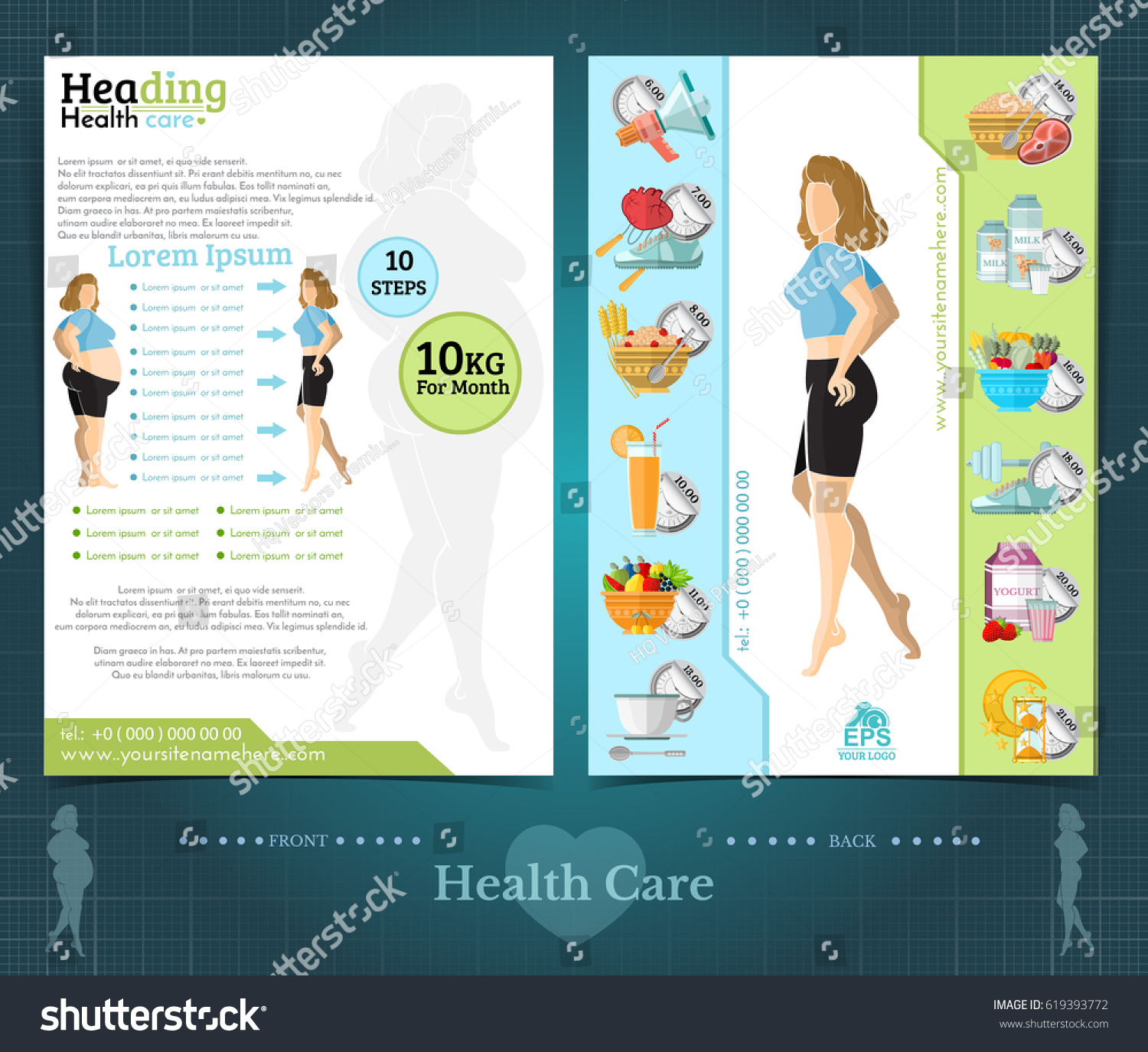 Two Sided Brochure Flyer Template Design Stock Vector Royalty Free