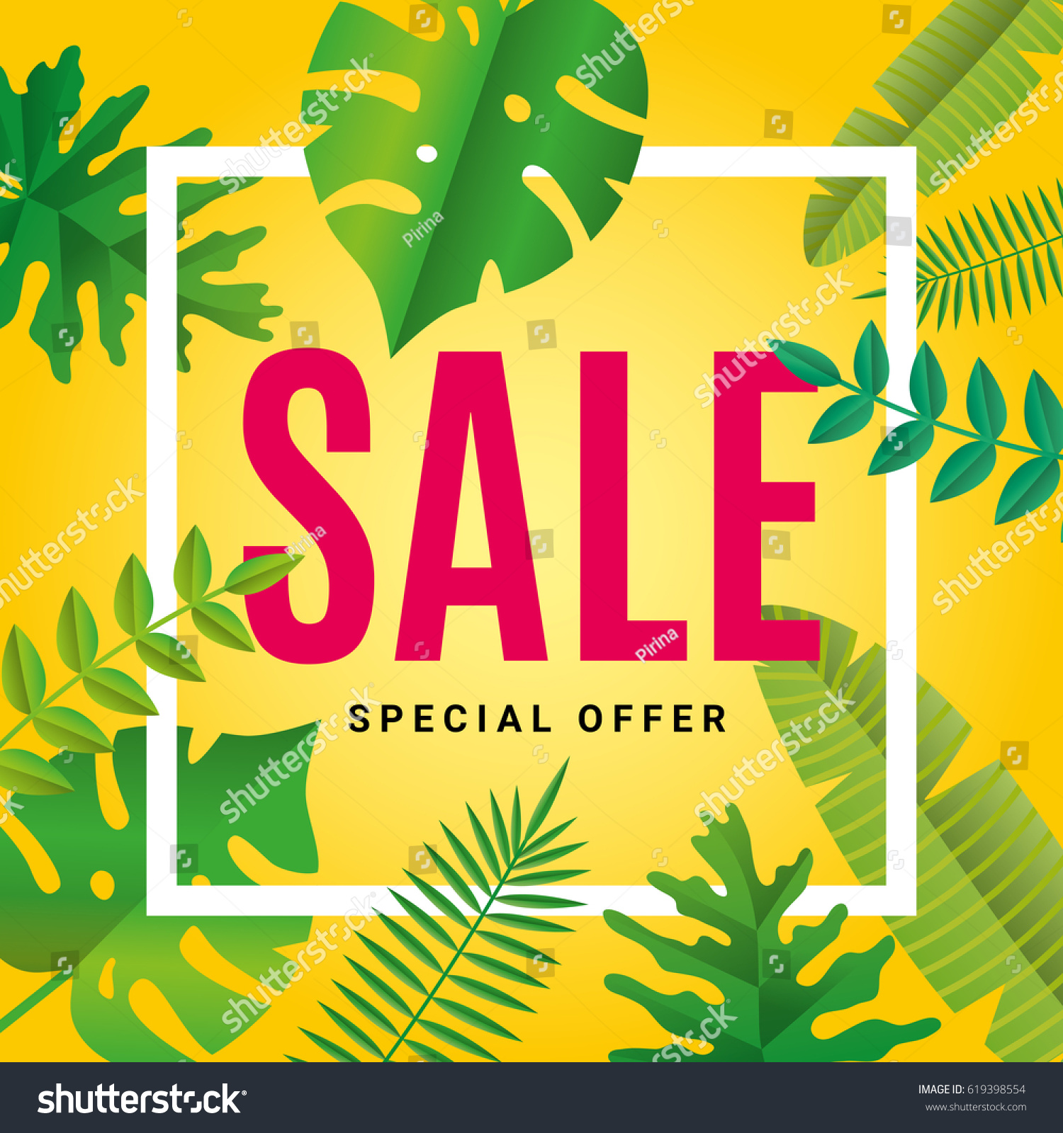 Tropical Summer Sale Background Sale Banner Stock Vector Royalty