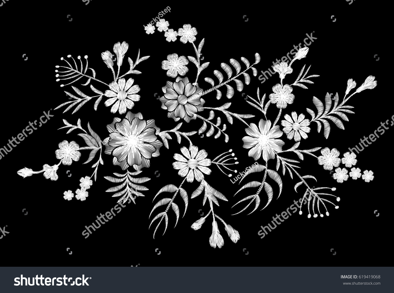 White Lace Pattern Of Flowers On A Black Background Imitation