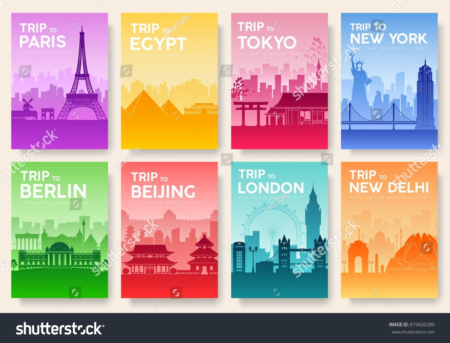 Travel Book Cover ~ Travel information cards landscape template flyear stock