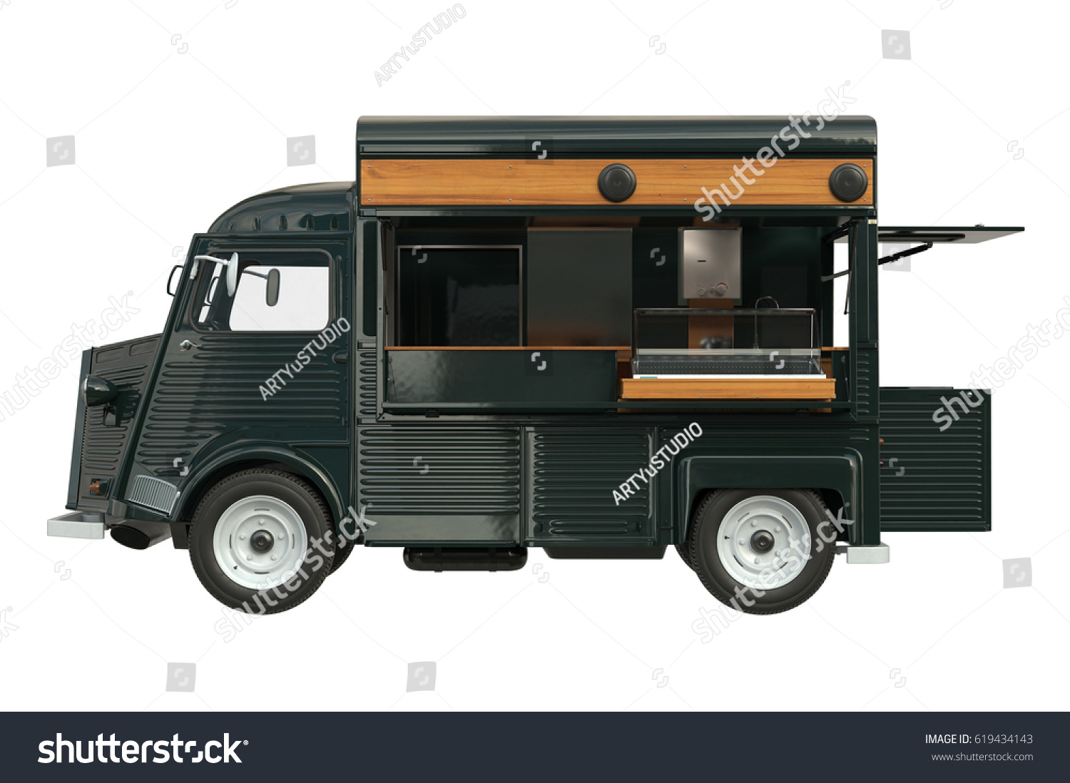Food Truck Green Eatery With Open Doors Side View 3D Rendering