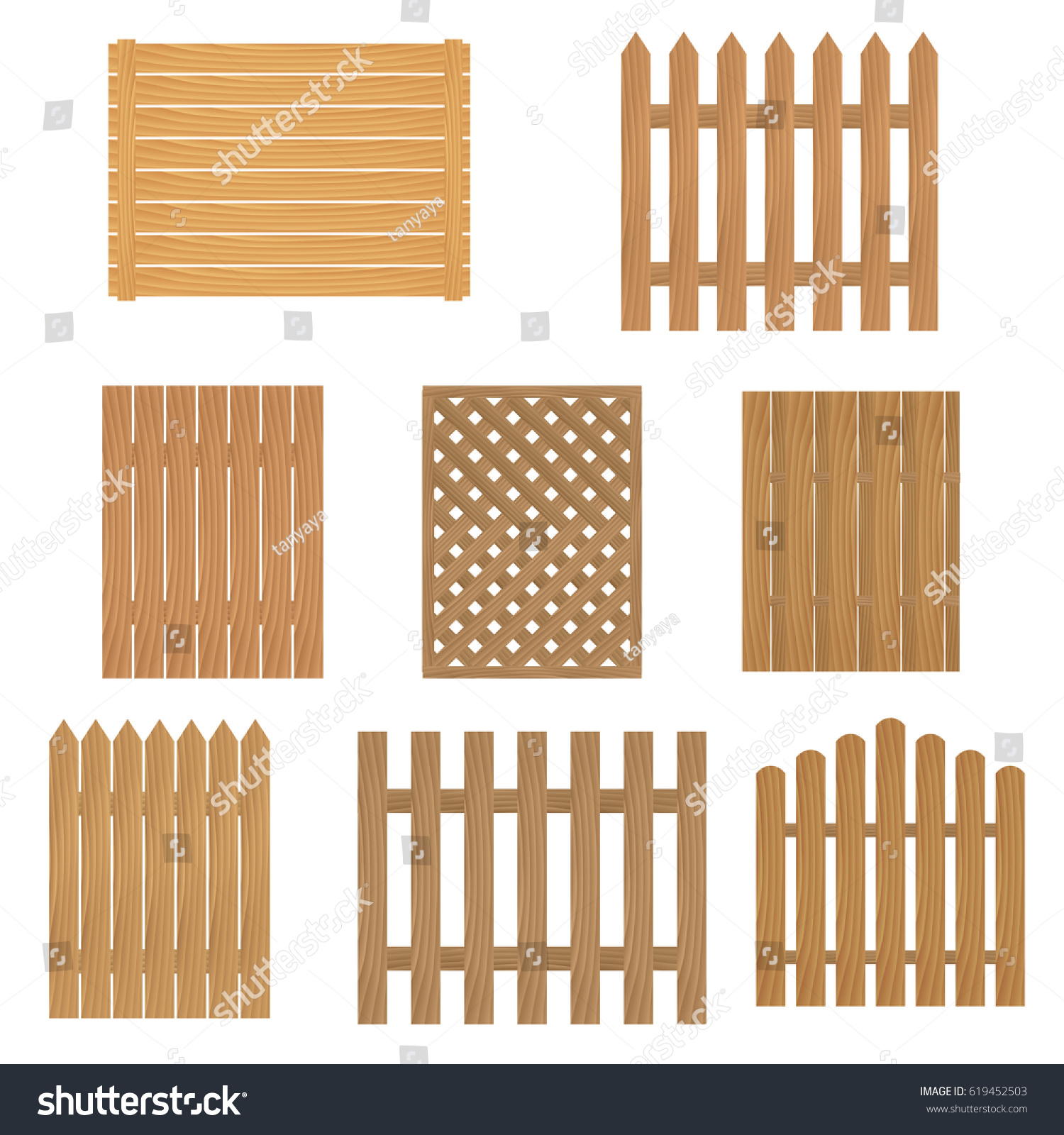 Different Types Wooden Fence Fence Wood Stock Vector Royalty Free