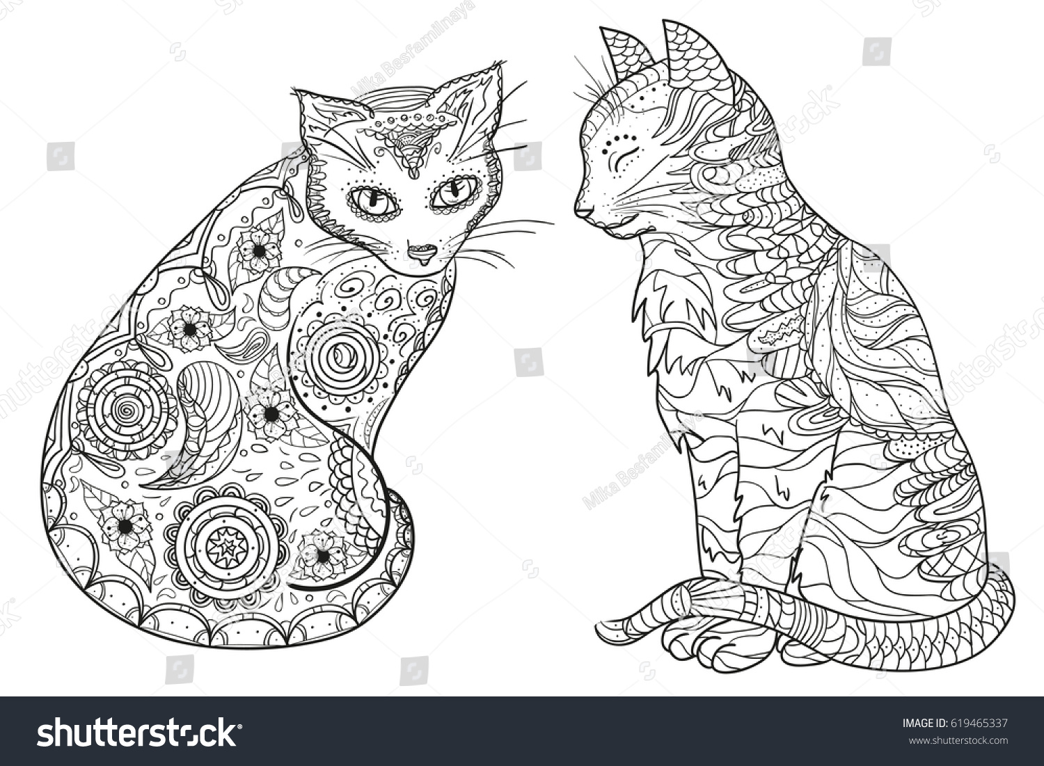 Zen Cats Design Zentangle Hand Drawn Cat With Abstract Patterns On White Background