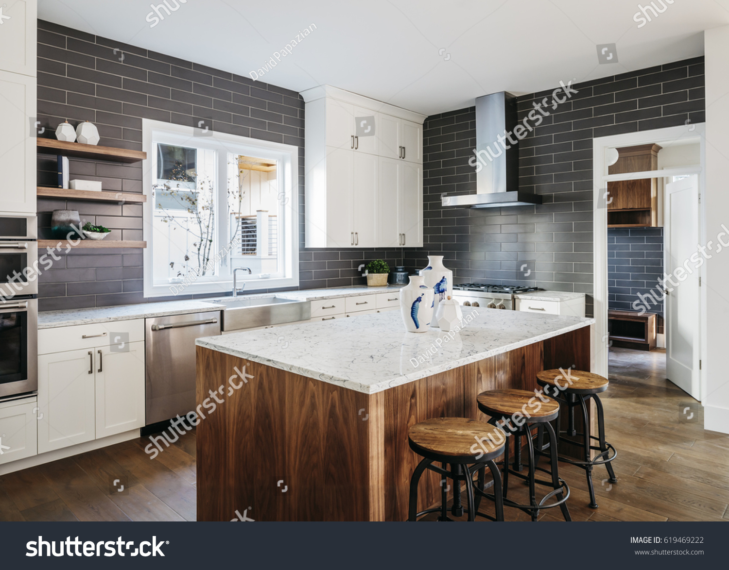 Modern Home Interior Stairway Kitchen Stock Photo (Royalty Free ...