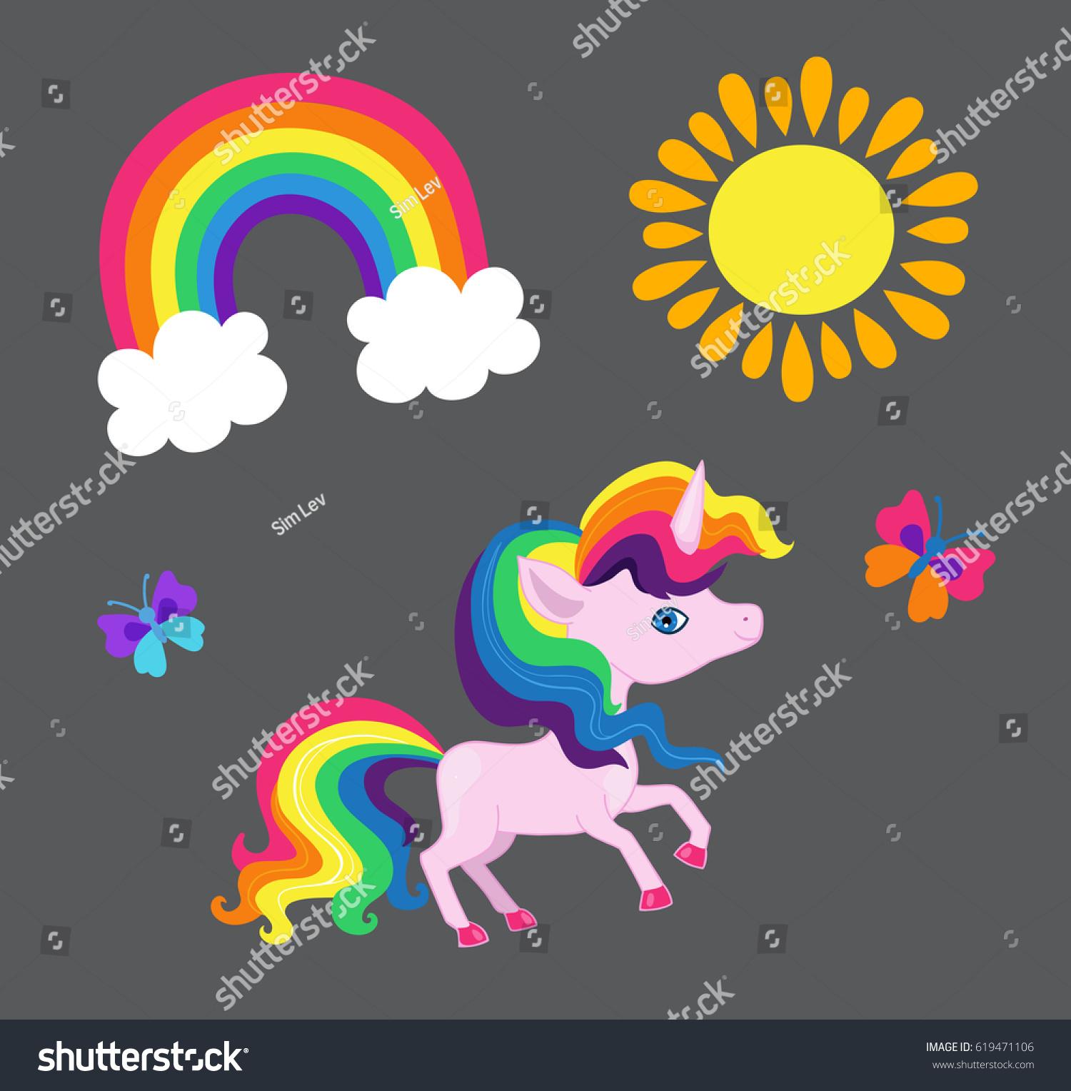 illustration very nice rainbow unicorn rainbow stock vector