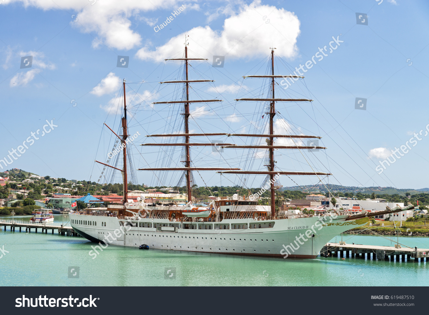 ST. JOHN'S, ANTIGUA - JANUARY 25, 2017: The Sea Cloud II is docked at the Nevis Street pier in St. John's. It is a large barque built as a cruise ship and operated by Sea Cloud Cruises GmbH, Germany.