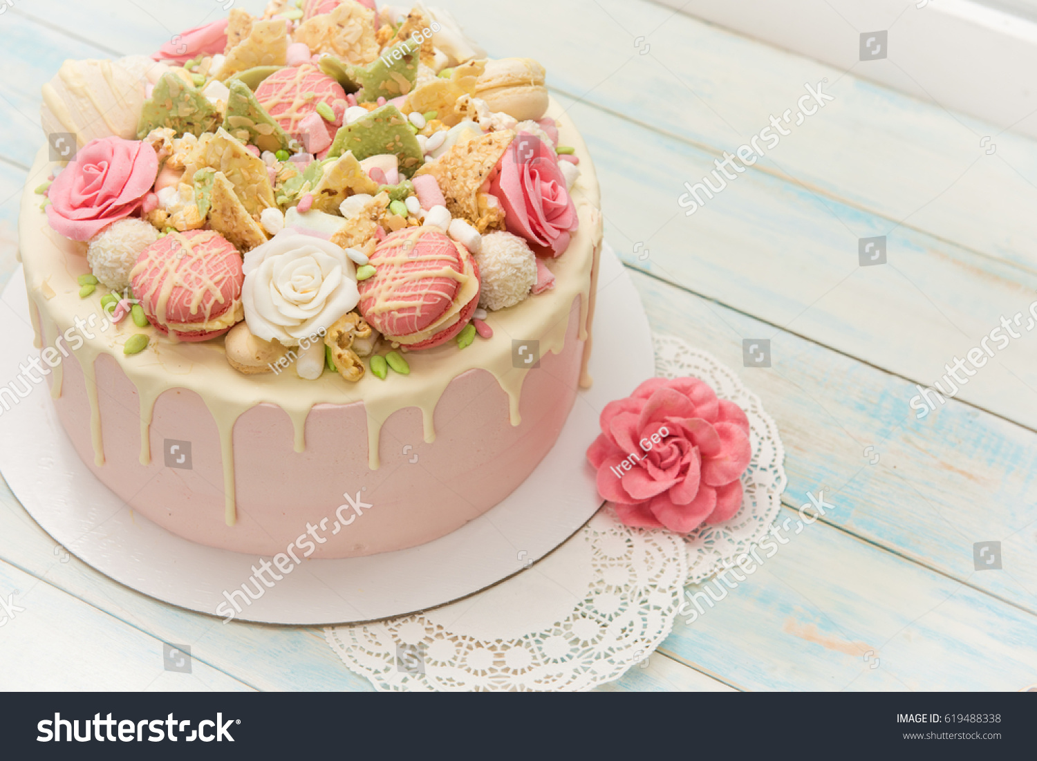 Pink Cake Flowers Cupcakes On White Stock Photo Edit Now 619488338