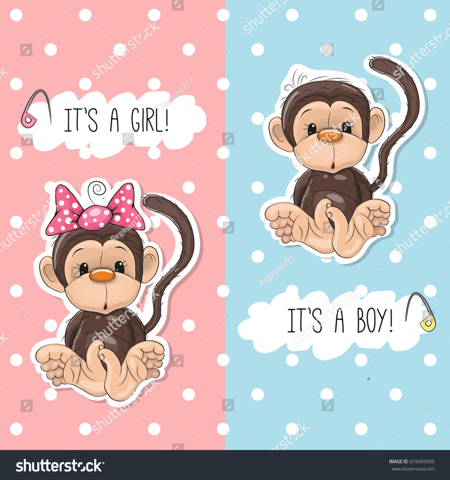 Baby Shower Greeting Card Monkey Boy Stock Illustration 619493450