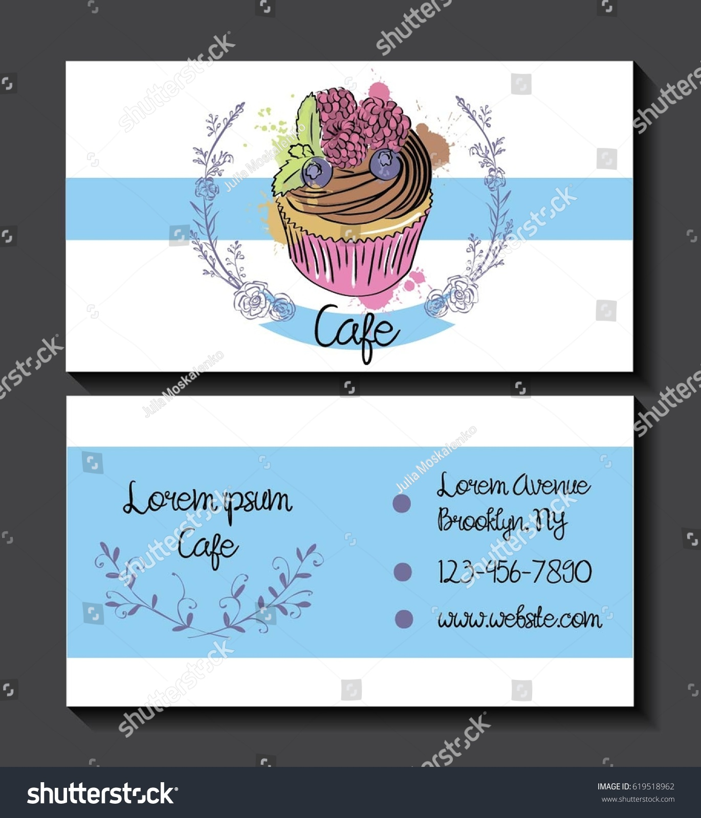 Business Card Template Hand Drawn Cupcake Stock Vector