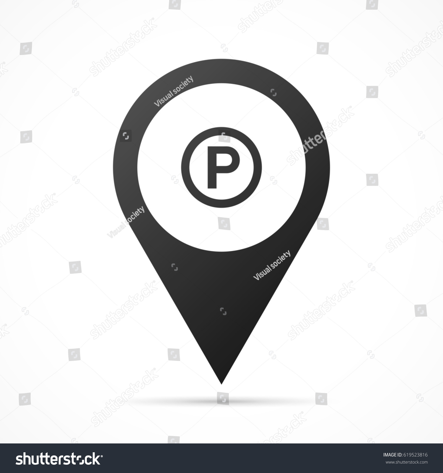 P Sound Recording Copyright Symbol On Map Pin Location Pointer