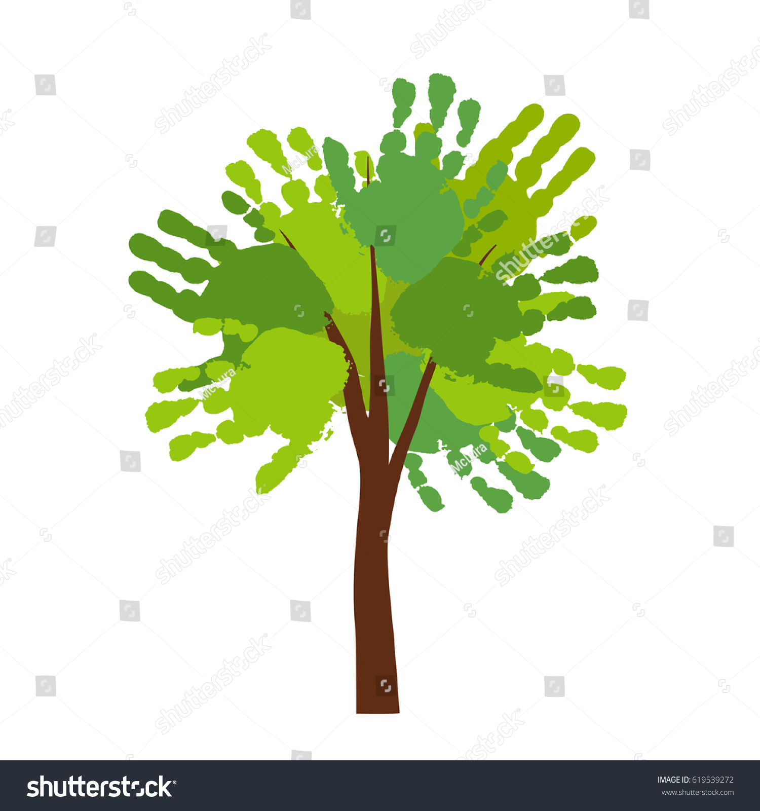 Hand Print Tree Kids Palm Prints Stock Photo (Photo, Vector ...