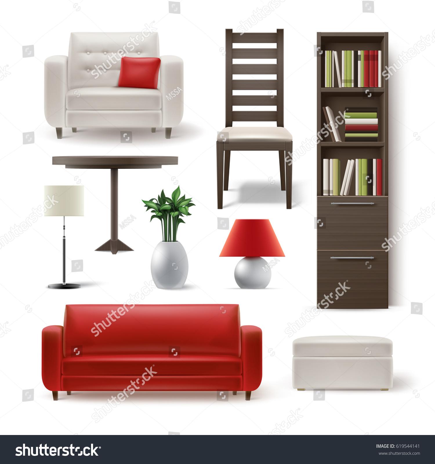 Vector Set Living Room Furniture Brown Stock Vector 619544141 ...