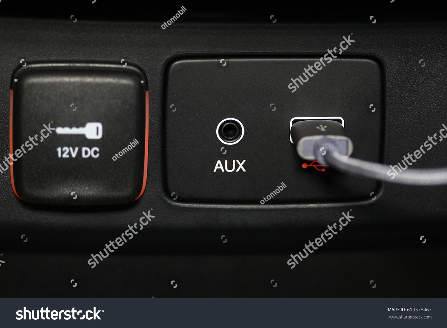 Car Interior Aux Usb Charging Cable Stock Photo Edit Now 619578467 Wiring And Connection