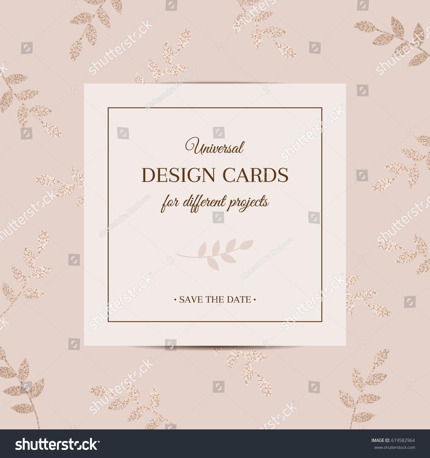 Universal Stylish Pattern Postcards Leaves Decorated Vector – Birthday Invitation Postcards